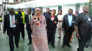 Princess Stella  Oduah Inspecting The remodelled D and E Fingers Of The MMIA