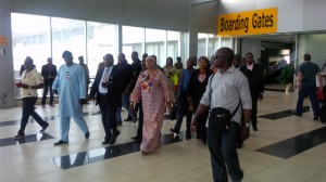 Aviation Minister inspecting D and E Fingers of the newly remodeled MMIA