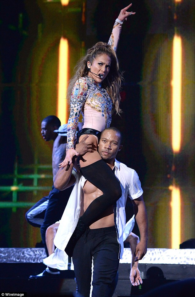Jennifer - whose relationship with boyfriend Casper Smart is alleged to be on the rocks - looked to be having great fun on stage as she got hot and steamy with her dancers.
