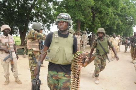 nigerian troops with captured ammunition from Konduga operation