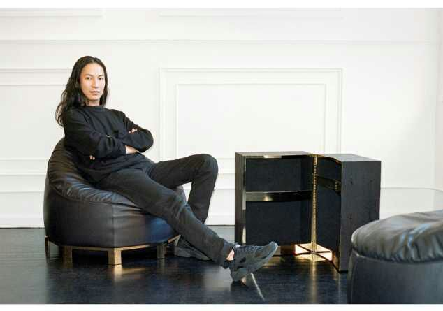 Alex Wang models his Furniture designs.