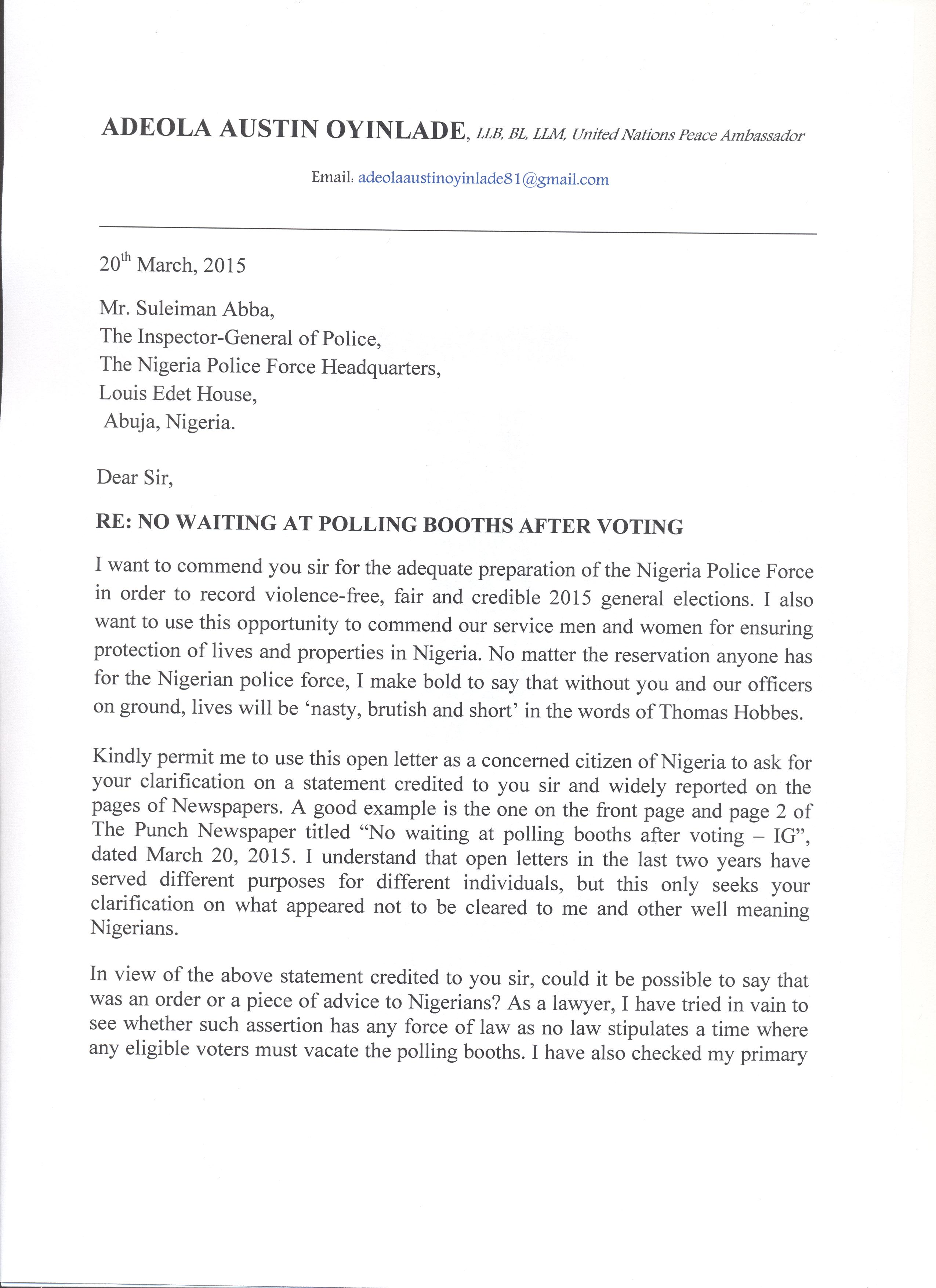 Open letter to the inspector general of police newswirengr open letter to the inspector general of police page 11 mitanshu Choice Image
