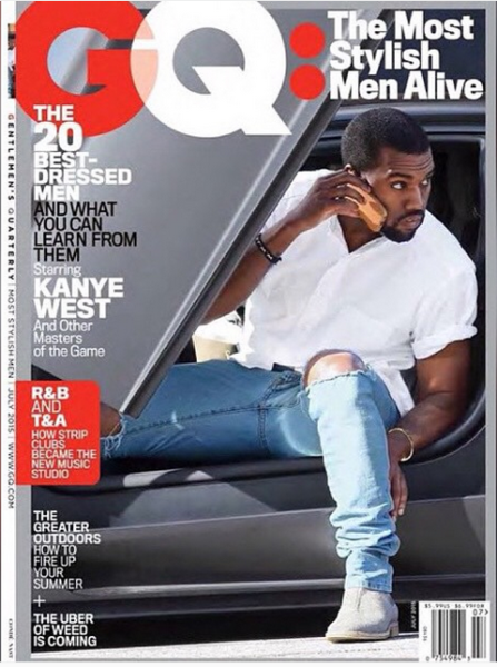 Kanye West On The Cover Of GQ Magazine's July Issue As One Of The 'Most Stylish Men Alive'