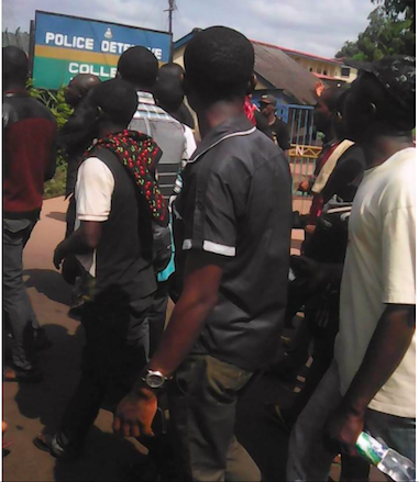 Enugu Police Station protesters