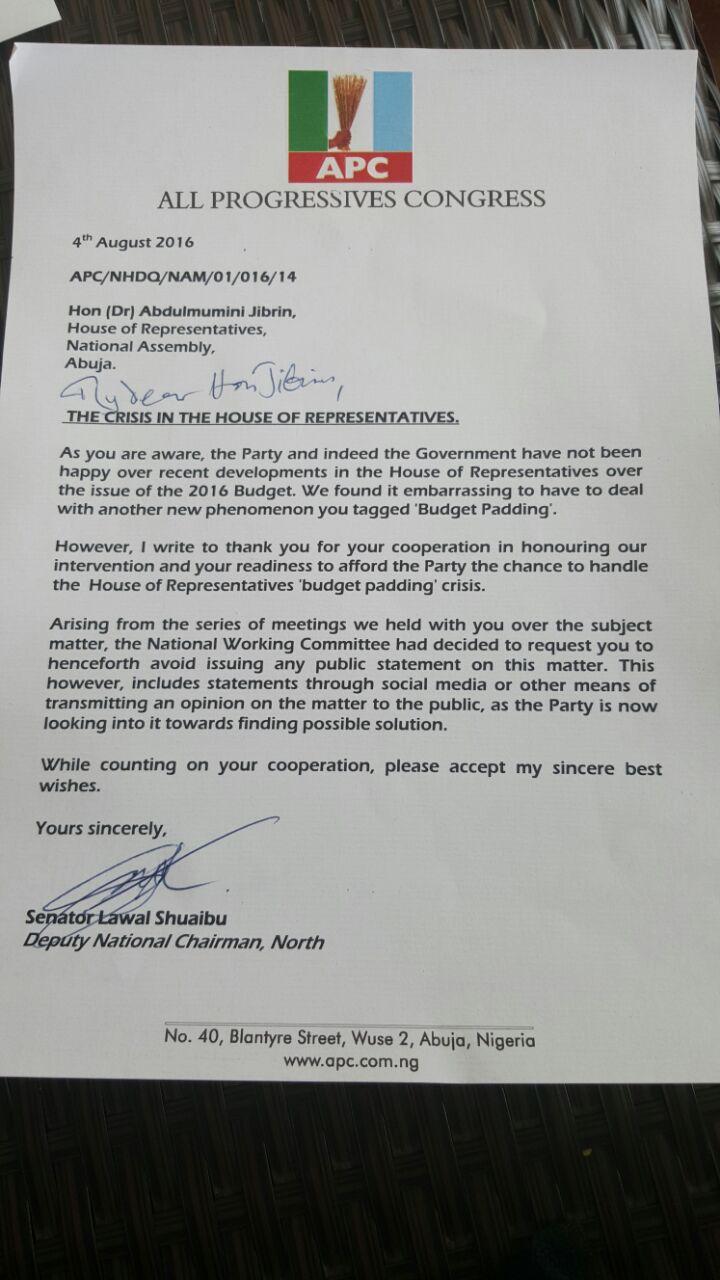 APC Jibrin letter