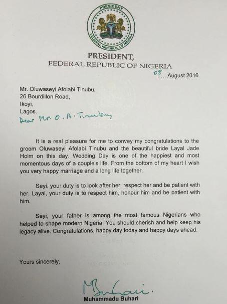 Buhari letter to Tinubu's Son